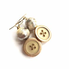 Yellow, Gold, Pearly Vintage Button Earrings by buttonsoupjewelry on Etsy