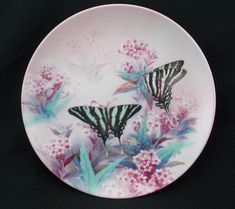 1989 Zebra Swallowtails Butterflies Lena Liu Xerces W.S. George China Plate #butterfly #butterflies #ZebraSwallowtail #zebra