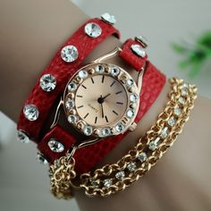 **Sold Out**  Rhinestones and Chain Red Strap Wrist Watch $35  Metal: Silver