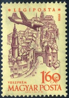 Sello: Veszprém Castle (Hungría) Anniversary of Hungarian Airpost Stamps) Mi:HU Aviation World, Chat Board, 40th Anniversary, Postage Stamps, Planer, Castle, Airplane, Maps, Aircraft