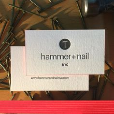 New business cards for hammer  nail with fluorescent edge in PMS 812. #businesscards #hammerandnail