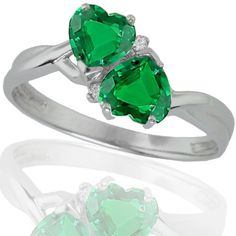 10k White Gold Created Emerald and Diamond Heart Ring (0.02 cttw, I-J Color, I1 Clarity) Amazon Curated Collection, http://www.amazon.com/dp/B0036FUWUO/ref=cm_sw_r_pi_dp_RcH1qb0WGV74S