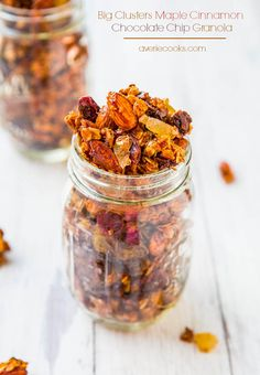 Big Clusters Maple Cinnamon Chocolate Chip Granola (vegan, GF) - Easy homemade granola for a fraction of the cost of storebought! Learn the secrets to creating those highly coveted big clusters! @Averie Sunshine {Averie Cooks}