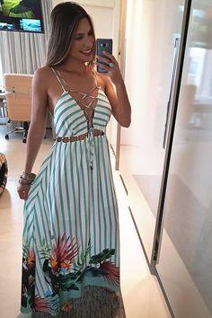 Vestido Longo Dress To Miki - BabadoTop Casual Summer Dresses, Summer Outfits, Casual Outfits, Cute Outfits, Hijab Casual, Casual Clothes, Summer Shorts, Dress Casual, Fashion Vestidos