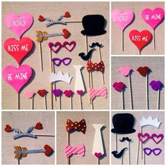 Valentine's Day Glitter Photo Booth Prop Set on Etsy, $38.00