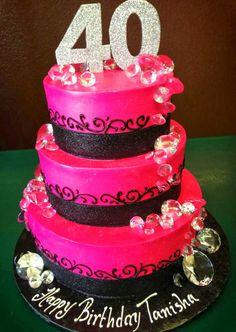 40th hot pink tier birthday cake