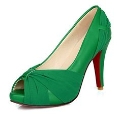 2ff755b2ab8137 VogueZone009 Womens Open Peep Toes High Heel Soft Material PU Solid Pumps  with Red Bottom