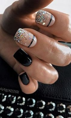 New Nail Art Ideas For Your Inspiration – – New Nai… – Nails Fancy Nails, Love Nails, Pretty Nails, Ten Nails, Nagellack Trends, Nail Tattoo, Dipped Nails, Cute Acrylic Nails, Black Gel Nails