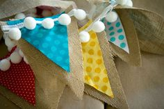 Bunting - hessian with white pom pom trim.where to find the pom pom trim? Burlap Bunting, Fabric Bunting, Burlap Fabric, Bunting Garland, Bunting Banner, Hessian, Banner Ideas, Diy Crafts Videos, Diy Craft Projects