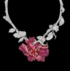 Necklace designed by Victoire de Castellane for Dior Jewellers.  White and pink gold, diamonds, rubellite, red and pink rubies. #jewellery #jewelry