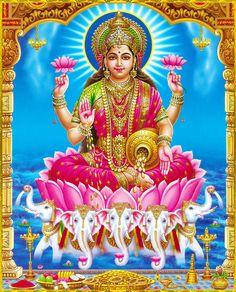 Vaibhav Lakshmi - Poster - 11 x 9 inches - Unframed Durga Images, Lakshmi Images, Lakshmi Photos, Divine Goddess, Goddess Lakshmi, Geisha, Goddess Names, Lord Shiva Family, Indian Goddess