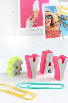 Honesty, HOW CUTE are these little cement letters!? I was amazed at how perfectly smooth they turned out after popping each out of the silicone mold. I have wanted to make a Instagram photo stand for