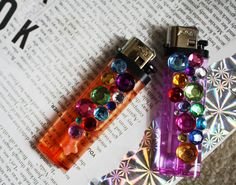 I wanted cute lighters... some hot glue & jewels and voila! #crafts #DIY #Design