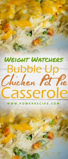 Bubble Up Chicken Pot Pie Casserole….creamy chicken with hearty veggies, fresh thyme with little chewy dough balls on the bottom and crispy … Ingredients: 1 teaspoon olive cup diced carr… Shredded Chicken Casserole, Chicken Pot Pie Casserole, Casserole Recipes, Weight Watchers Chicken, Weight Watchers Meals, Healthy Chicken Pot Pie, Creamy Chicken, Ww Chicken Pot Pie Recipe, Healthy Shredded Chicken Recipes
