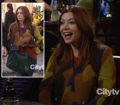 Lily's yellow and brown jacket with green bag on How I Met Your Mother.  Outfit details: http://wornontv.net/6134/