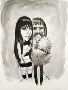 Sonny & Cher | Artwork by Drew Friedman [©2012-2016]