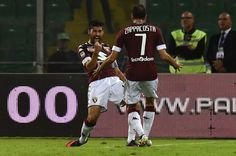 Marco Benassi of Torino celebrates after scoring his team third goal during the Serie A match between US Citta di Palermo and FC Torino at Stadio Renzo Barbera on October 17, 2016 in Palermo, Italy.