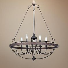 "Helena Bronze 6-Light 28"" Wide Forged Iron Chandelier - #X3193 