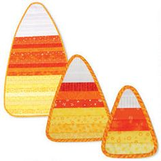 Candy Corn Quilted Table Topper Kit  Could use same principle as Easter table runner -- cut like a candy corn and bind