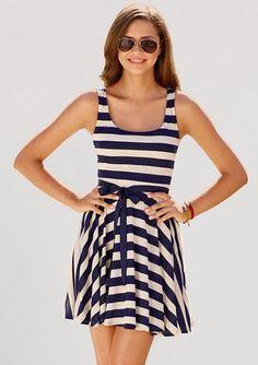 easy summer outfit Rất đơn giản - rất mát và thanh lịch Váy thun kẻ ngang