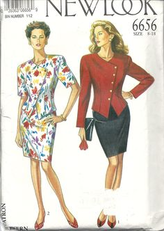 New Look 6656 (sizes 8-18) 2 styles of asymmetric hem fitted jacket and straight skirt. Suitable for Linens, wools, damask, brocade etc. Year unknown - early 90s? 96c from Goodwill.