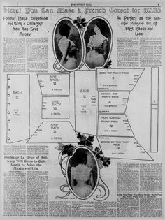 ca. 1900 French Corset pattern, along with a short article on a man who knows the meaning of life- practicality and humor all in one package!