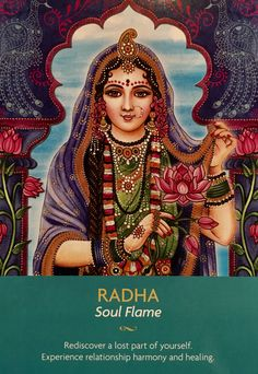 "May Daily Angel Oracle Card: Radha ~ Soul Flame, from the Keepers Of The Light Oracle Card deck, by Kyle Gray, artwork by Lily Moses Radha ~ Soul Flame: ""Rediscover a lost part of yourself. Hare Krishna, Krishna Leela, Jai Shree Krishna, Radha Krishna Love, Lord Krishna Images, Radha Krishna Pictures, Lord Shiva Family, Krishna Painting, Krishna Drawing"