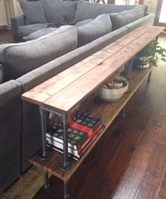 6' Reclaimed Cedar Two Shelf Black Steel Pipe Sofa Table Console Industrial Rustic