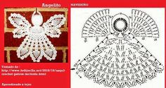 Different angel graph from picture Thread Crochet, Crochet Motif, Crochet Designs, Crochet Doilies, Crochet Yarn, Family Christmas Ornaments, Christmas Angels, Christmas Crafts, Holiday Crochet