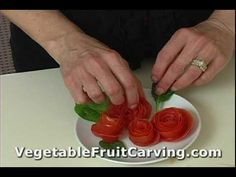 Vegetable Carving Made Easy - How to make a tomato rose garnish. Easy vegetable carving instructions. Check out Nita's vegetable and fruit carving lessons