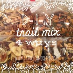 DIY Trail Mix 4 ways   Farr Cleaner Life  Healthy camping snacks, gluten free, paleo, eat clean backpacking snacks.