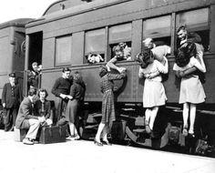 Kissing at the train station.
