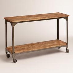 Maybe too rustic / industrial but flagging this for the Refreshment Station if it went in front of the wooden wall Cost Plus World Market Wood and Metal Aiden Console Table Metal Industrial, Industrial Living, Industrial Farmhouse, Industrial Interiors, Industrial Furniture, Industrial Style, Industrial Stairs, Industrial Closet, Industrial Apartment