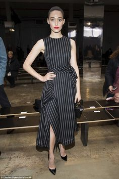 Say it with stripes in a midi dress like Emmy Rossum. Click 'Visit' to buy now. #DailyMail