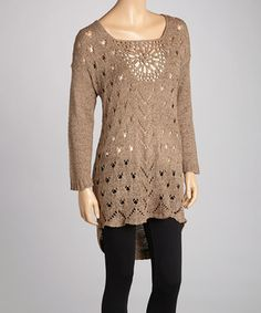 Another great find on #zulily! Brown Crochet Linen-Blend Tunic by Pretty Angel #zulilyfinds