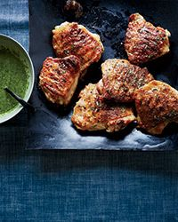 Honey-Butter-Grilled Chicken Thighs with Parsley Sauce Recipe on Food