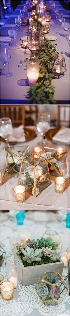 Chic geometric wedding centerpiece ideas #weddingdecor #weddingcenterpieces #weddingreception #weddingideas