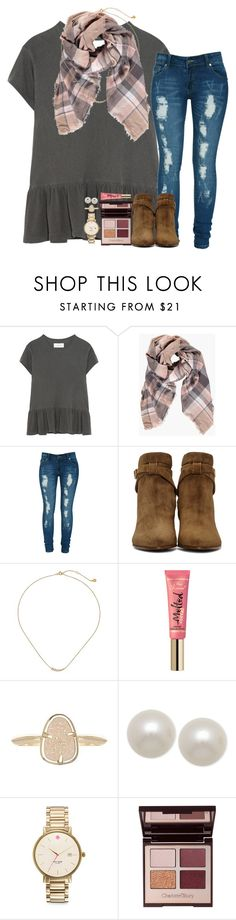 """""""nobody can drag me downn"""" by ellaswiftie13 ❤ liked on Polyvore featuring The Great, Boohoo, Criminal Damage, Yves Saint Laurent, Gorjana, Kendra Scott, Honora, Kate Spade and Charlotte Tilbury"""