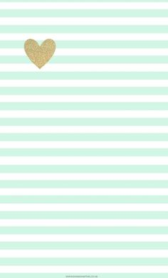 White and mint stripes with gold heart