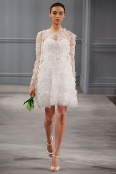 Monique LHuillier - Spring 2014  TAGS:Ruffles, Floral, Knee-length, Long sleeves, White, Monique Lhuillier, Organza, Tulle, Modern