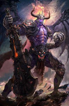 8 - fantasy concept by ling lin Fantasy Demon, Demon Art, Fantasy Monster, Monster Art, Fantasy Weapons, Fantasy Warrior, Dark Fantasy Art, Fantasy World, Dark Art