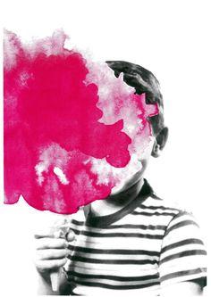 Siebdruck - RUMMEL ZUCKERWATTE Siebdruck Collage A3 Pink Junge - ein Designerstück von Morkebla bei DaWanda