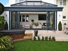 PVCu Conservatories Our custom-made conservatory designs offer you a beautiful way to add extra space and value to your home. Whether you are looking to extend Cottage Extension, House Extension Design, Extension Ideas, Modern Gazebo, Modern Backyard, Garden Room Extensions, House Extensions, Kitchen Extensions, Orangerie Extension