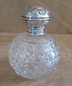 Syner & Beddoes Sterling Silver & cut crystal bottle 1959 vanity glass brilliant