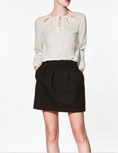 Zara - blouse with tear drop neckline Size 0 Models, Zara, Pretty Shirts, European Fashion, European Style, Chiffon Shirt, Dress Me Up, Pretty Outfits, Blouse Designs