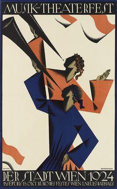 By Joseph Binder (1898-1972), 1924,  Musik und Theaterfest, Der Stadt Wien.