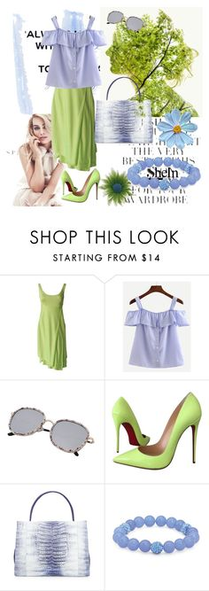 """Shein"" by vaslida ❤ liked on Polyvore featuring Folio, Versace, Christian Louboutin, Nancy Gonzalez and Palm Beach Jewelry"