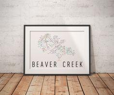 Christmas DIY: Beaver Creek Ski Map Beaver Creek Ski Map Art Trail Map Print Poster. #christmasdiy #christmas #diy