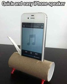 Or use a toilet paper roll, which will also amplify sound effortlessly. | 13 Simple Hacks For Enjoying Music So Much More