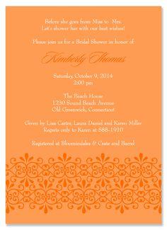 Fleur Tangerine Bridal Shower Invitations